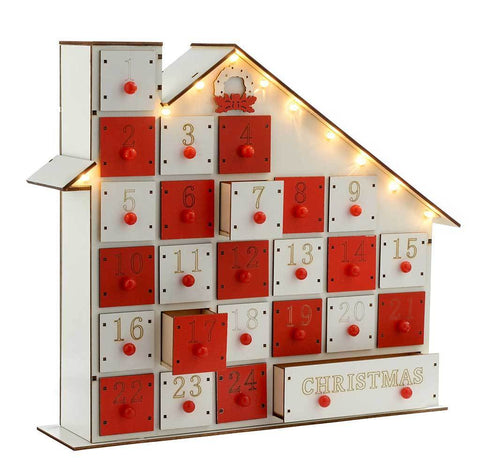 30 cm Pre-Lit Wooden House Advent Calendar Christmas Decoration Illuminated with Warm White LED Lights, White
