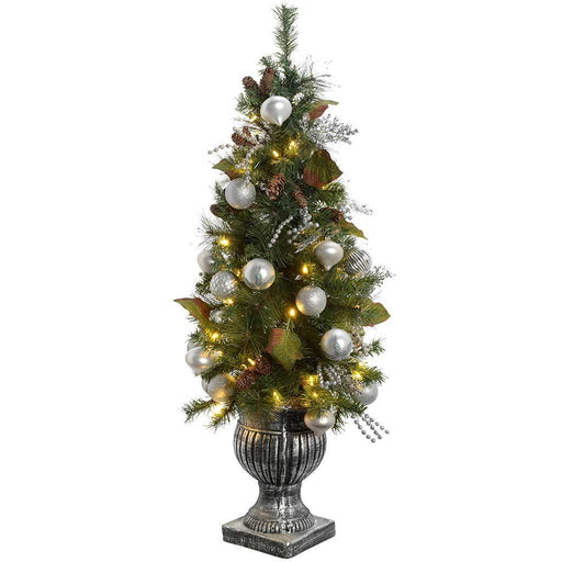 Pre-Lit Potted Christmas Tree with 50 Warm White LED Fairy Lights, 4 ft /1.2 m - Silver/Blue