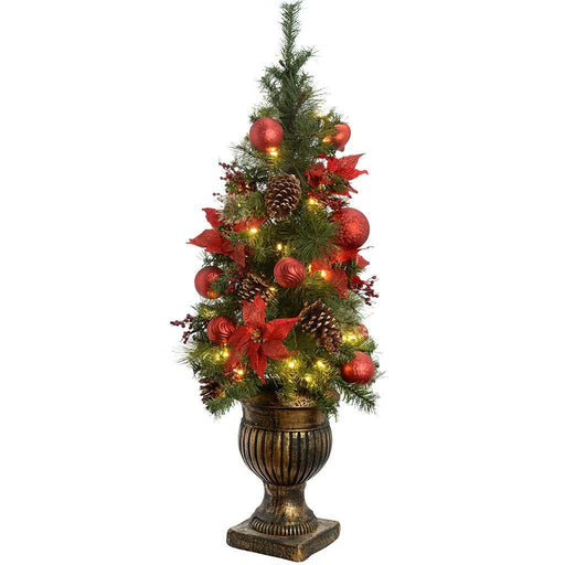 Pre-Lit Potted Christmas Tree with 50 Warm White LED Fairy Lights, 4 ft /1/2 m - Red