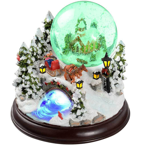 30 cm Village Scene Musical Animated Snow Globe Christmas Decoration