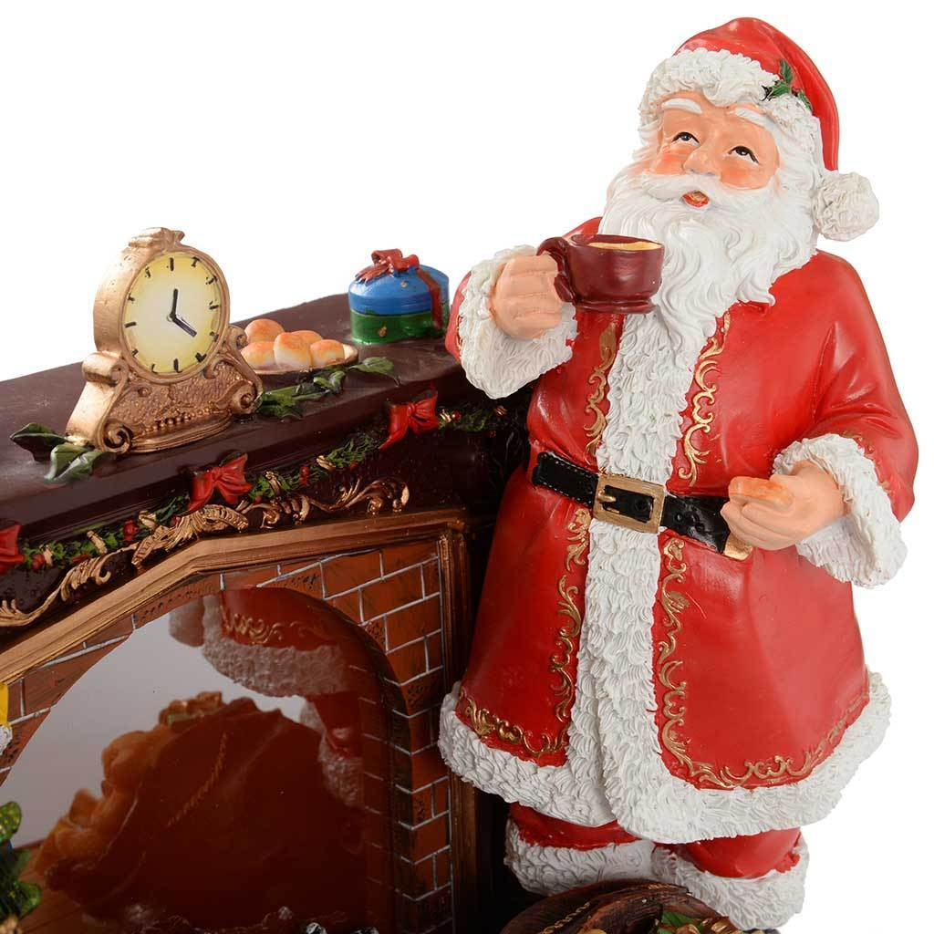 25 cm Christmas Musical Animated Santa and Fire Place Scene with Flame Effect