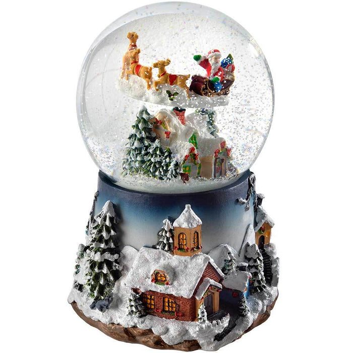 20 cm village scene musical animated snow globe christmas decoration with revolving santa - Musical Animated Christmas Decorations