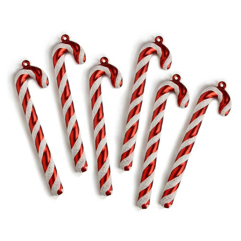 Candy Cane Baubles Christmas Tree Decorations with Glitter and Ribbon, Pack of 6, Red/White