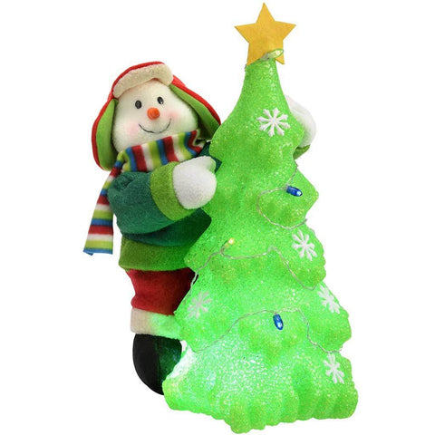Pre-Lit Snowman Christmas Tree Decoration with Colour Changing LED Light, 35 cm