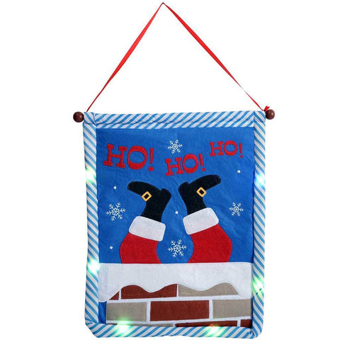 Ho Ho Ho Hanging Flag with Colour Changing LED Lights, 50 cm - Multi-Colour