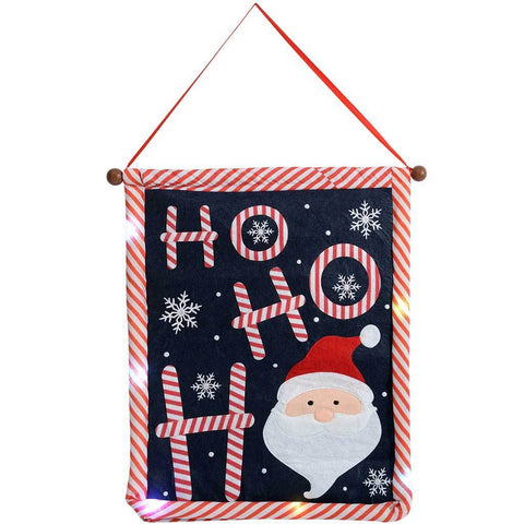 Ho Ho Ho Santa Hanging Flag with Colour Changing LED Lights, 50 cm - Multi-Colour