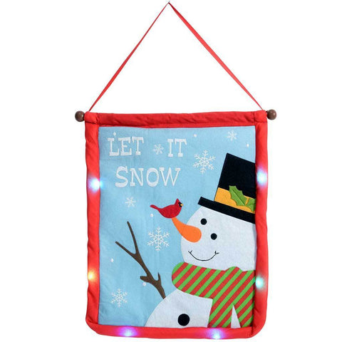 Snowman Let it Snow Hanging Flag with Colour Changing LED Lights, 50 cm - Multi-Colour