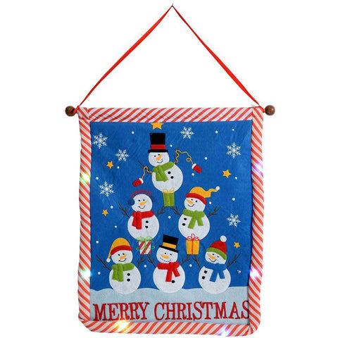 Snowman Hanging Flag with Colour Changing LED Lights, 50 cm - Multi-Colour