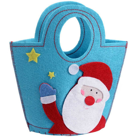 Santa Fabric Gift Bag Present Christmas Decoration, 22 cm - Multi-Colour
