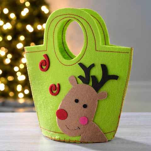 Reindeer Fabric Gift Bag Present Christmas Decoration, 22 cm - Multi-Colour