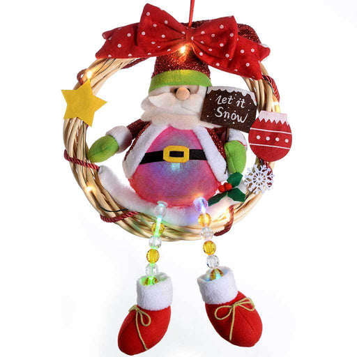 Pre-Lit Santa Wreath with Colour Changing Body, 33 cm - Multi-Colour