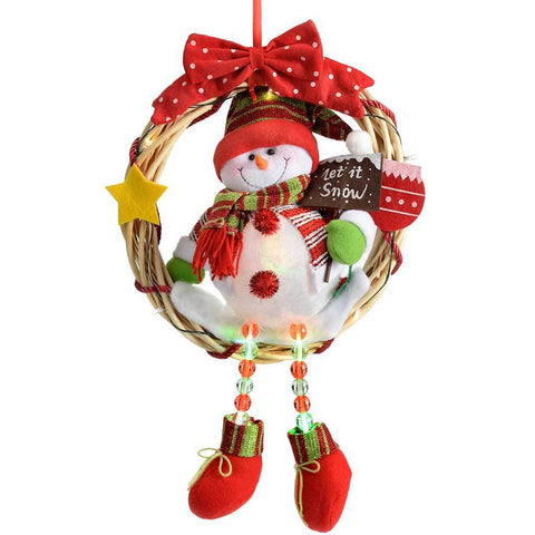 Pre-Lit Snowman Wreath with Colour Changing Body and Pre-Lit Legs, 33 cm - Multi-Colour