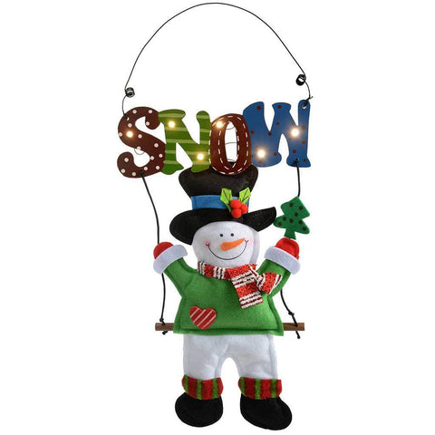 Pre-Lit Hanging Snowman with Warm White LED Lights, 38 cm - Multi-Colour