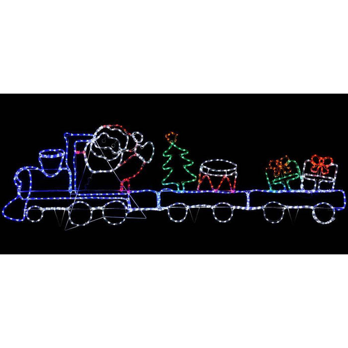 250 cm Large Animated Santa on a Train with Flashing Wheels Rope Lights Silhouette