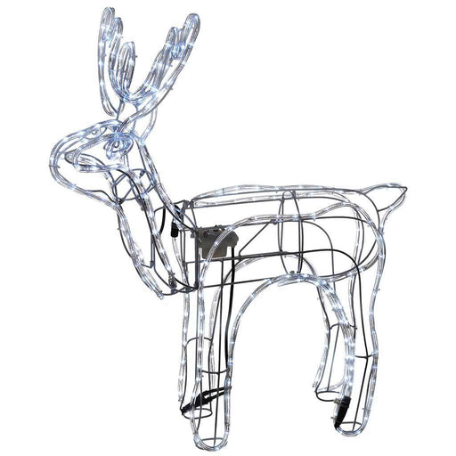2.9 ft Animated Standing Reindeer with Moving Head LED Rope Light, White