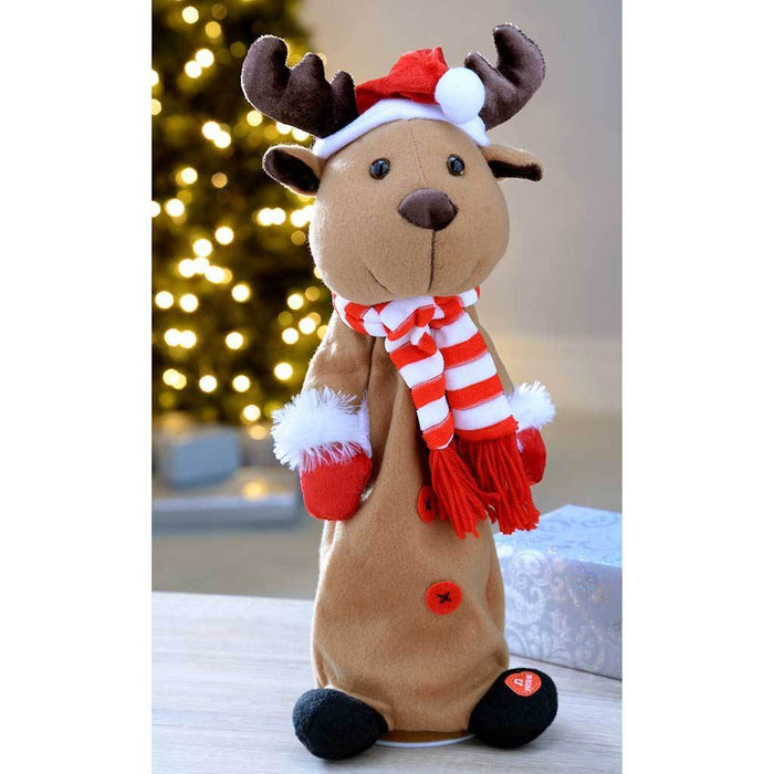 Jumping and Singing Reindeer Christmas Decoration, 35 cm - Multi-Colour