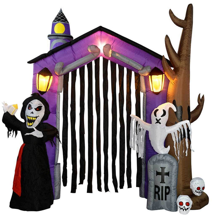 "270 cm Large Pre-Lit ""Haunted House"" Inflatable Halloween Decoration with Lights and Fan, Multi-Colour"