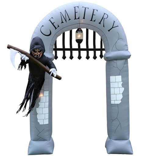 "360 cm Large Pre-Lit ""Cemetery Arch"" Inflatable Halloween Decoration with Lights and Fan, Multi-Colour"