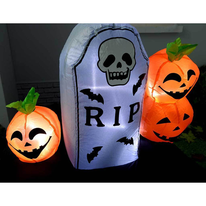 "210 cm Pre-Lit ""Ghost Train"" Inflatable Halloween Decoration with LED Lights and Fan, Multi-Colour"