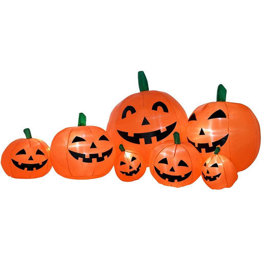 "210 cm Large Pre-Lit ""Pumpkins"" Inflatable Halloween Decoration with LED Lights and Fan, Multi-Colour"