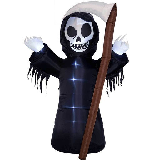 "270 cm Large Pre-Lit ""Grim Reaper with Scythe"" Inflatable Halloween Decoration with LED Lights and Fan, Multi-Colour"