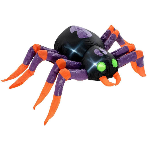 "WeRHalloween 90 cm Large Pre-Lit ""Spider"" Inflatable Halloween Decoration with LED Lights and Fan, Multi-Colour"