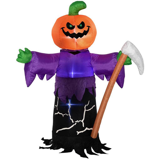 WeRHalloween 150 cm Large Pre-Lit \\Pumpkin Grim Reaper\ Inflatable Halloween Decoration with LED Lights and Fan\