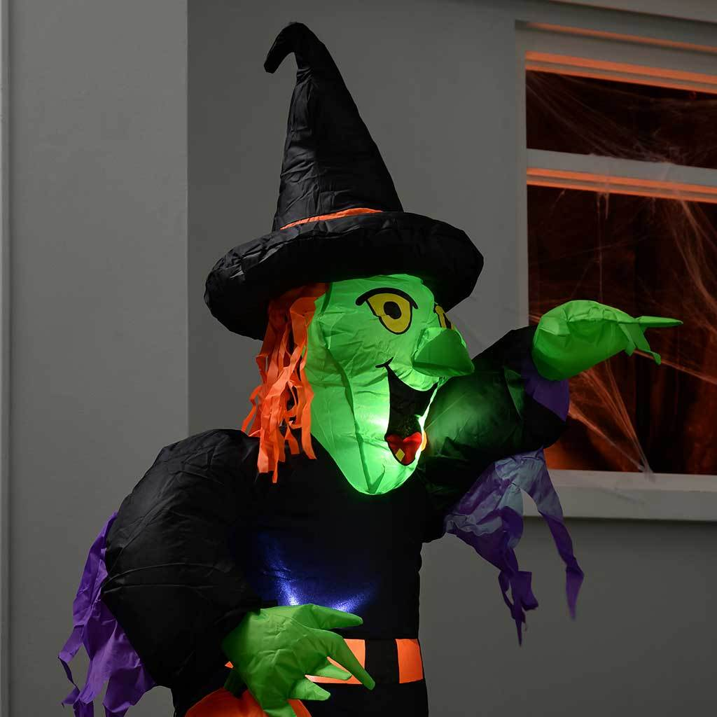 WeRHalloween 120 cm Large Pre-Lit \\Witch\ Inflatable Halloween Decoration with LED Lights and Fan\