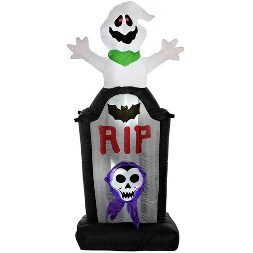 "WeRHalloween 150 cm Large Pre-Lit ""Ghost Tombstone"" Inflatable Halloween Decoration with LED Lights and Fan, Multi-Colour"