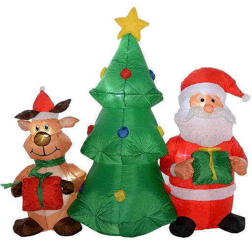Pre-Lit Christmas Tree Santa and Bear Inflatable with LED Lights and Fan, 150 cm - Large