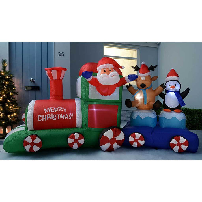 210 Cm Large Pre Lit Santa And Friends Train Inflatable Christmas
