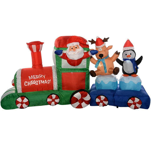 "210 cm Large Pre-Lit ""Santa and Friends Train"" Inflatable Christmas Decoration with LED Lights and Fan, Multi-Colour"