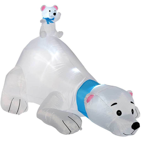 "180 cm Large Pre-Lit ""Polar Bear"" Inflatable Christmas Decoration with LED Lights and Fan, Multi-Colour"