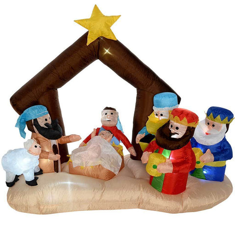 "160 cm Large Pre-Lit ""Nativity Scene"" Inflatable Christmas Decoration with LED Lights and Fan, Multi-Colour"