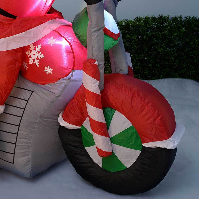 "150 cm Large Pre-Lit ""Santa Motorcycle"" Inflatable Christmas Decoration with LED Lights and Fan, Multi-Colour"