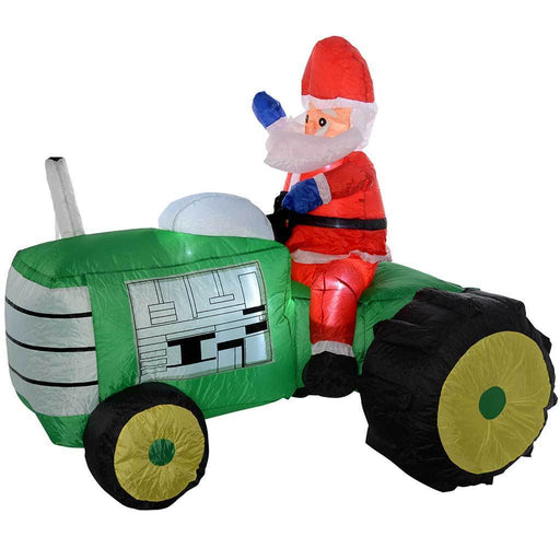 Pre-Lit Santa Tractor Inflatable with LED Lights and Fan, 150 cm - Large