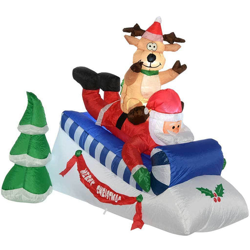 Pre-Lit Santa and Reindeer Sleigh Inflatable with LED Lights and Fan, 150 cm - Large