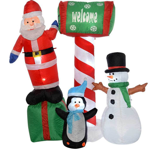 150 cm Large Pre-Lit Santa Penguing and Snowman Inflatable Christmas Decoration with LED Lights and Fan