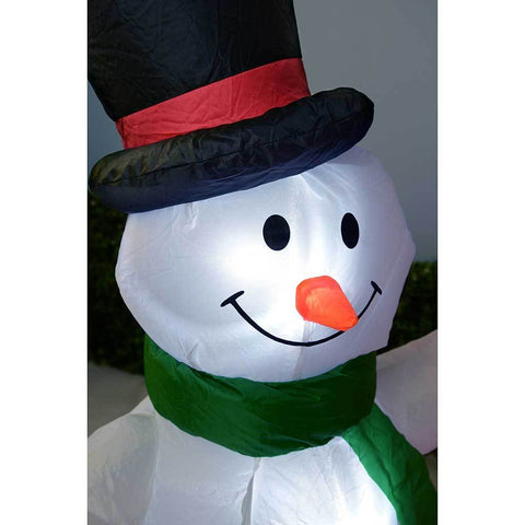 150 cm Large Pre-Lit Santa Snowman Chimney Inflatable Christmas Decoration with LED Lights and Fan