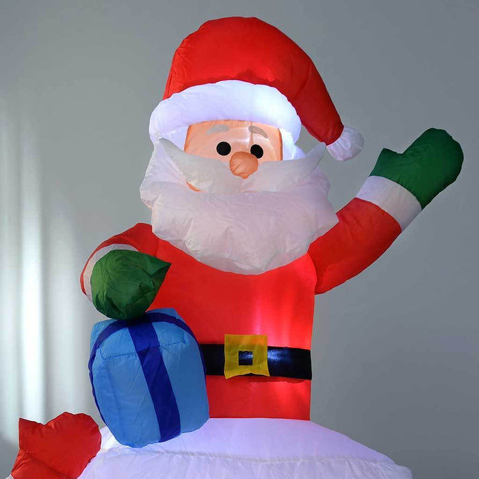 150 cm large pre lit santa snowman chimney inflatable christmas decoration with led lights and