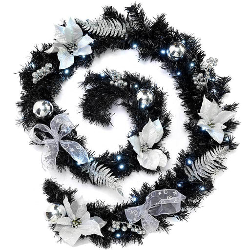 Pre-Lit Decorated Garland Illuminated with 40 Cold White LED Lights, 9 ft - Black/Silver