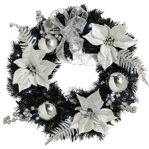 Pre-Lit Decorated Wreath Illuminated with 20 Cold White LED Lights, 60 cm - Black/Silver