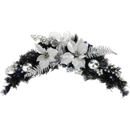 Pre-Lit Decorated Arch Garland with 20 Cold White LED Lights, 90 cm - Black/Silver