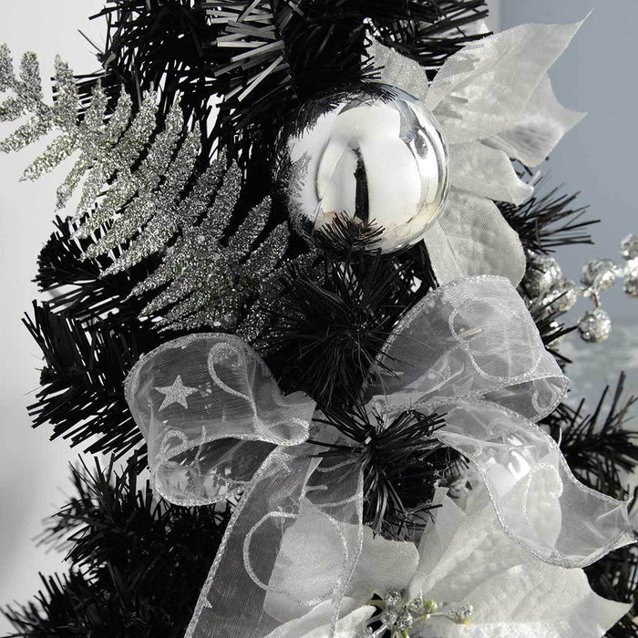 Burlap Base Decorated Christmas Tree, 2 ft/60 cm - Black/Silver