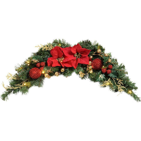 Pre-Lit Decorated Arch Garland with 20 Warm White LED Lights, 90 cm - Red/Gold