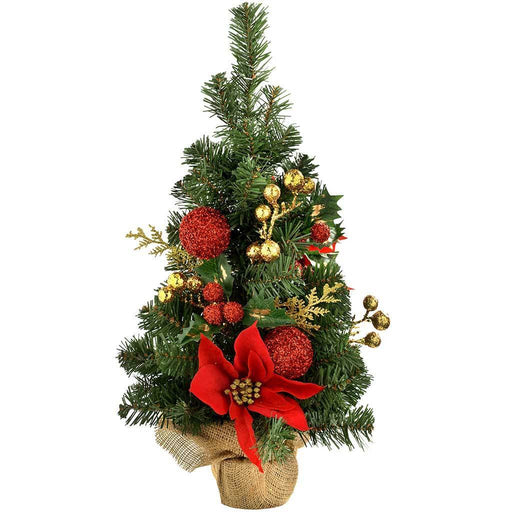 Burlap Base Decorated Christmas Tree, 2 ft/60 cm - Red/Gold