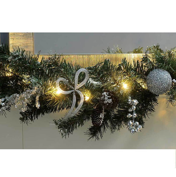 Pre-Lit Decorated Garland Illuminated with 40 Cold White LED Lights, 9 ft - Silver Ice