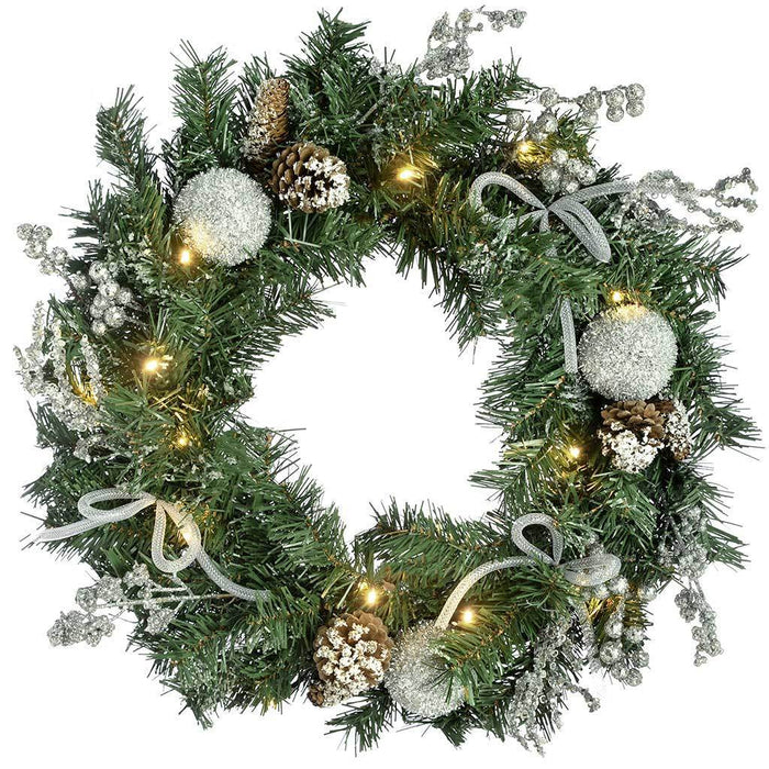 Decorated Pre-Lit Wreath Illuminated with 20 Cold White LED Lights, 60 cm - Silver Ice