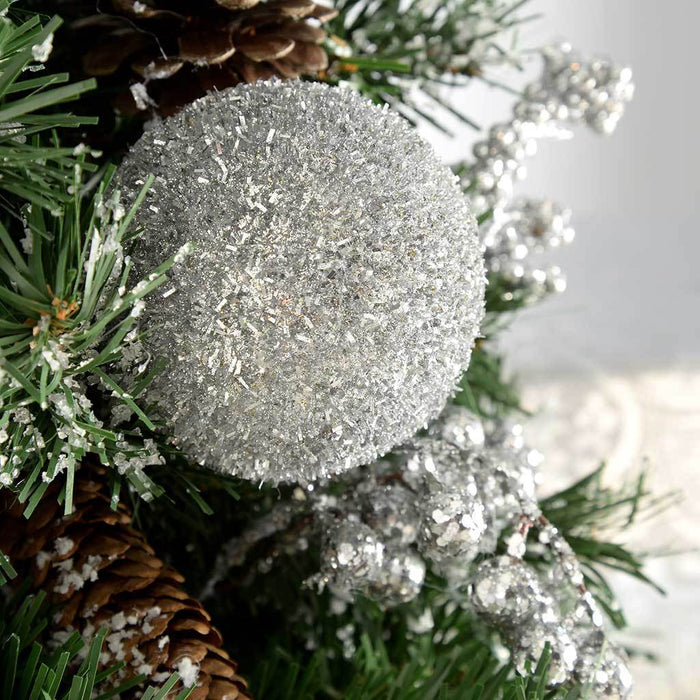 Burlap Base Decorated Christmas Tree, Silver Ice 2 ft/60 cm