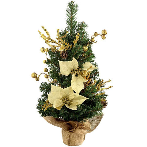 Burlap Base Decorated Christmas Tree, Gold/Cream 2ft/60 cm